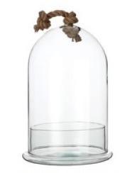 Glazen stolp 2 delen, met canvas touw